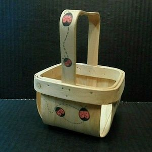 Other - Splint Wood Berry Basket Ladybug Decorated